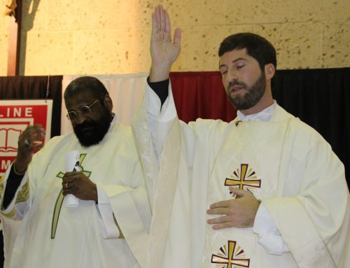 Fr. Clark Sample '01 Connects with Eagle Students on Feast of St. Thomas Aquinas